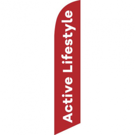 Active Lifestyle Feather Flag Red 12ft Poly Knit width=