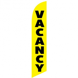 Vacancy Feather Flag Yellow 12ft Poly Knit width=