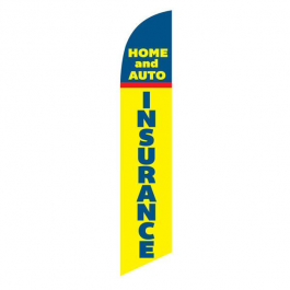 Home and Auto Insurance Feather Flag Blue & Yellow 12ft Poly Knit width=