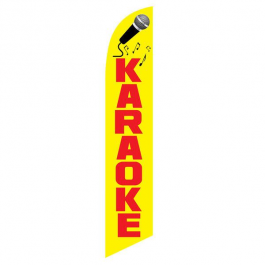 Karaoke Feather Flag Yellow & Red 12ft Poly Knit width=