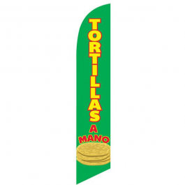 Tortillas A Mano Feather Flag Green 12ft Poly Knit width=