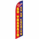 Su Trabjo es su credito Feather Flag Red & Blue & Yellow 12ft Poly Knit