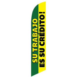Su Trabjo es su credito Feather Flag Green & Yellow 12ft Poly Knit width=