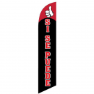 Si Se Puede Feather Flag Black & Red 12ft Poly Knit