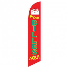 Pague Billes Aqui Feather Flag Red 12ft Poly Knit width=