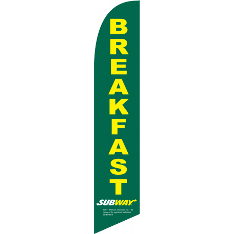 Subway Breakfast Feather Flag Green 12ft Poly Knit width=