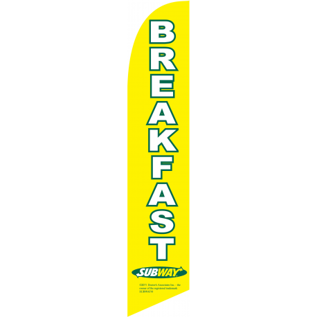 Subway Breakfast Feather Flag Yellow 12ft Poly Knit width=