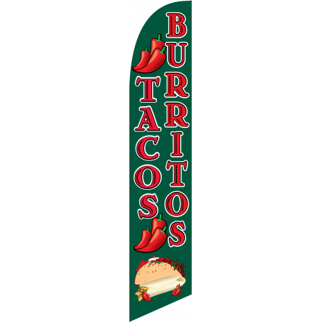 Tacos Burritos Feather Flag Green & Red 12ft Poly Knit width=