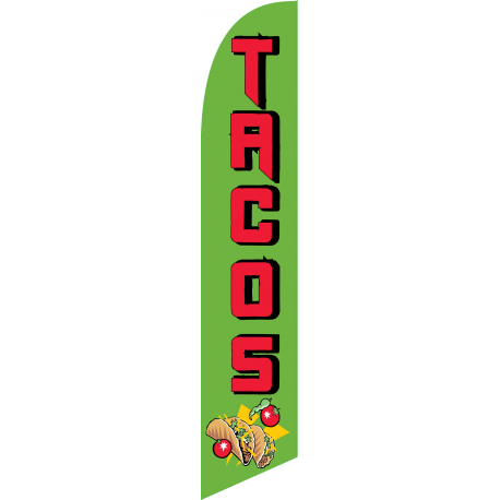Tacos Feather Flag Green & Red 12ft Poly Knit width=