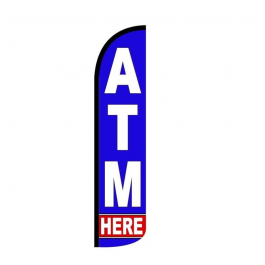 ATM Here Feather Flag 12ft Poly Knit width=