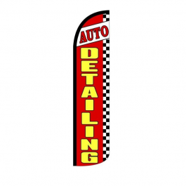 Auto Detailing Feather Flag 12ft Poly Knit width=