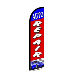 Auto Repair Feather Flag 12ft Poly Knit width=