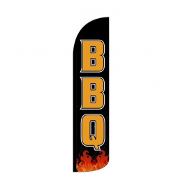 BBQ ( black ) Feather Flag 12ft Poly Knit width=
