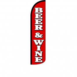 Beer & Wine Feather Flag 12ft Poly Knit width=