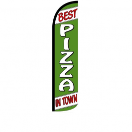 Best Pizza In Town Feather Flag 12ft Poly Knit width=