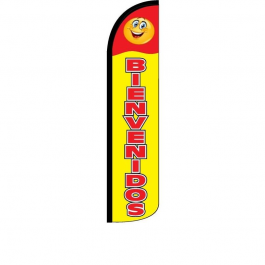Bienvenidos ( red / yellow ) Feather Flag 12ft Poly Knit width=