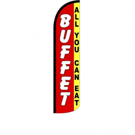 Buffet ( all you can eat ) Feather Flag 12ft Poly Knit width=