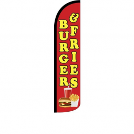 Burger & Fries Feather Flag 12ft Poly Knit width=