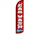 Car Wash ( red ) Feather Flag 12ft Poly Knit