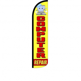 Computer Repair Feather Flag 12ft Poly Knit width=