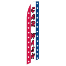Car Wash feather flag. stripes (swooper-style)