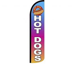 Hot Dogs Feather Flag 12ft Poly Knit width=