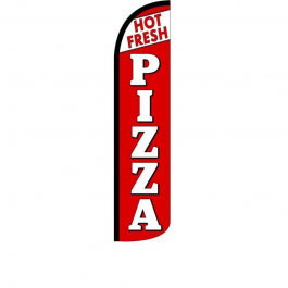 Hot Fresh Pizza Feather Flag 12ft Poly Knit width=