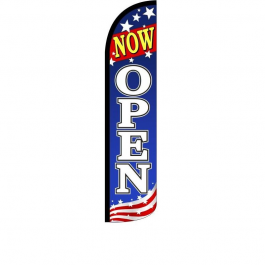 Now Open Feathher Flag 12ft Poly Knit width=