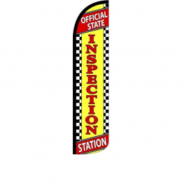Official State Inspection Station Feather Flag 12ft Poly Knit width=