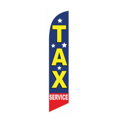 Tax Service with stars Feather Flags 12ft Poly Knit width=