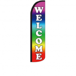 Sale (Rainbow) Feather Flag 12ft Poly Knit width=