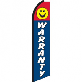 Warranty Smiley Feather Flag 12ft Poly Knit width=