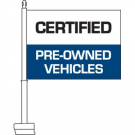 Certified Pre-owned Clip On Car Flag Blue. Qty 6.