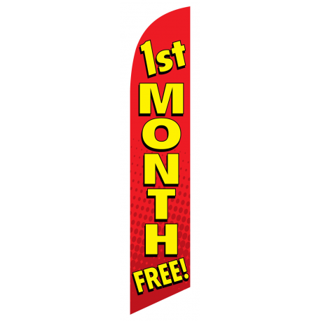1st Month Free Feather Flag Red 12ft Poly Knit width=