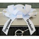 New! 30 Inch Giant White Congratulations Graduate Magentic Car Bow Jum-bow
