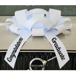 New! 30 Inch Giant White Congratulations Graduate Magentic Car Bow Jum-bow width=