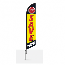 Stop Save Now feather flag width=