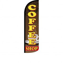 Coffee Shop Feather Flag width=