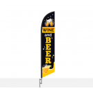 Wine & Beer Feather Flag Red 12ft Poly Knit