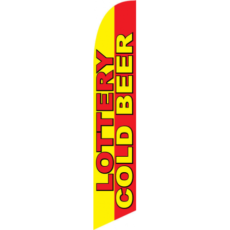 Lottery Cold Beer Feather Flag 12ft Poly Knit width=