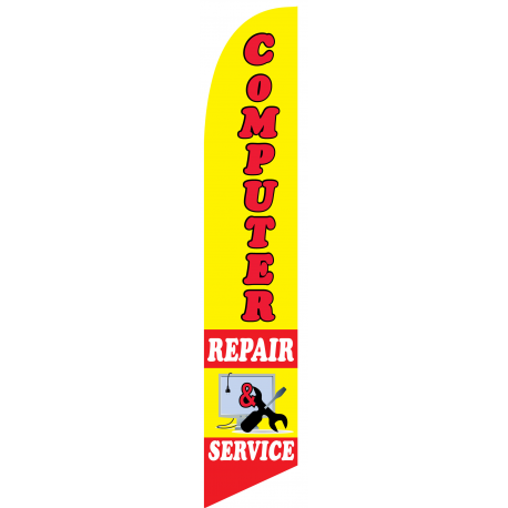 Computer Repair Service Feather Flag Yellow 12ft Poly Knit width=