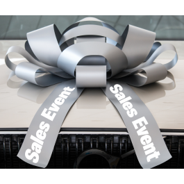 30 Inch Sales Event Magnetic Car Bow Silver And White width=