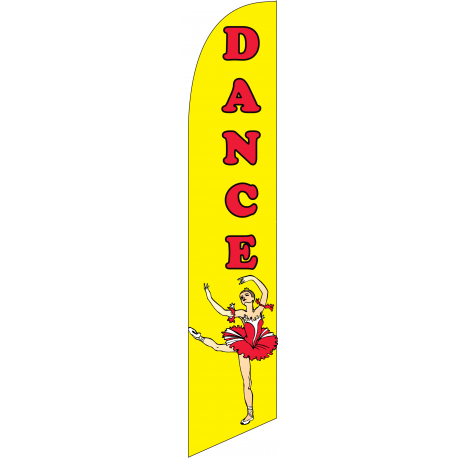 Dance Feather Flag Yellow 12ft Poly Knit width=