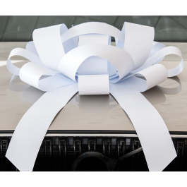 Giant White Magnetic Car Bow - Large 30 inch Size width=