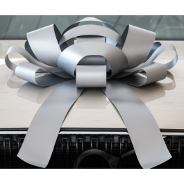 Giant Silver Magnetic Car Bow - Large 30 inch Size width=