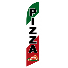 Pizza Feather Flag Green & White & Red 12ft Poly Knit width=