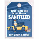 Sanitized Vehicle Mirror Hang Tags - Blue