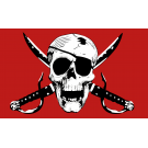 Crimson Pirate Flag 3x5