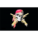 Pirate with Guns Crossed Flag 3x5