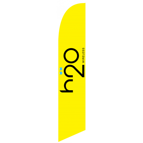 H2O Wireless Feather Flag Yellow 12ft Poly Knit width=